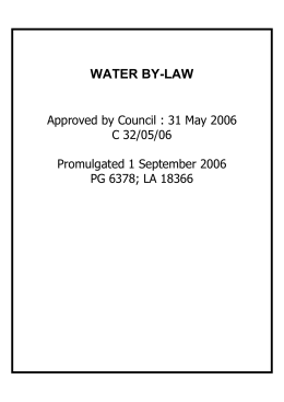 WATER BY-LAW Approved by Council : 31 May 2006 C 32/05/06