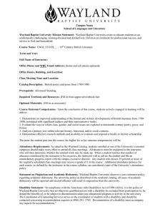 Campus Name School of Languages and Literature Wayland Baptist University Mission Statement: