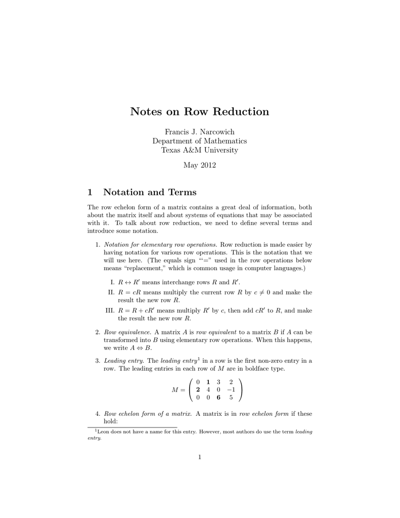 Notes on Row Reduction 1 Notation and Terms Francis J  Narcowich