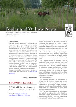 Poplar and Willow News Dear readers, Newsletter of the International Poplar Commission