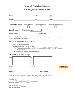 Stephen F. Austin State University ADDRESS/NAME CHANGE FORM Check all that applies