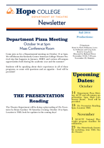 Newsletter Department Pizza Meeting October 14 at 5pm Maas Conference Room