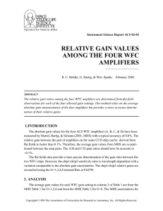 RELATIVE GAIN VALUES AMONG THE FOUR WFC AMPLIFIERS