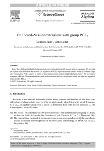 On Picard–Vessiot extensions with group PGL ARTICLE IN PRESS 3 Lourdes Juan