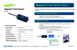 Magnetic Field Sensor Magnetic Field Quick Start Additional Equipment Needed Equipment Setup