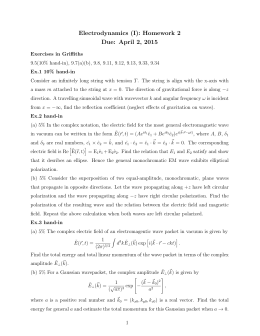 Electrodynamics (I): Homework 2 Due: April 2, 2015