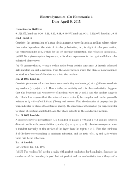 Electrodynamics (I): Homework 3 Due: April 9, 2015