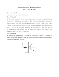 Electrodynamics (I): Homework 4 Due: April 16, 2015