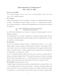 Electrodynamics (I): Homework 7 Due: June 11, 2015