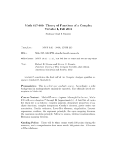 Math 617-600: Theory of Functions of a Complex