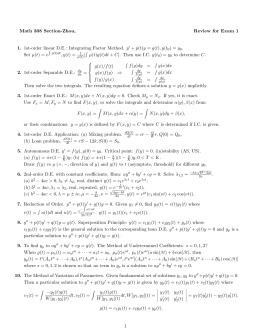 Math 308 Section-Zhou, Review for Exam 1 1. 2.