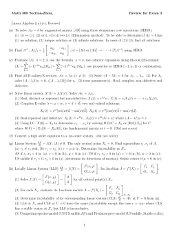 Math 308 Section-Zhou, Review for Exam 3 Linear Algebra ((a)-(c), Review) Ax