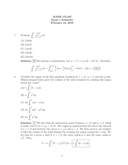 MATH 172.507 Exam 1 Solutions February 24, 2016 Z