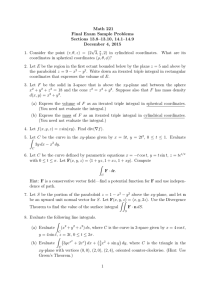 Math 221 Final Exam Sample Problems Sections 13.8–13.10, 14.1–14.9 December 4, 2015