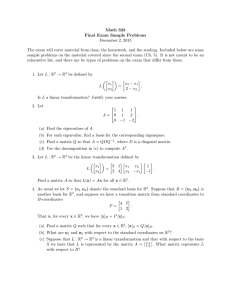 Math 323 Final Exam Sample Problems December 2, 2015