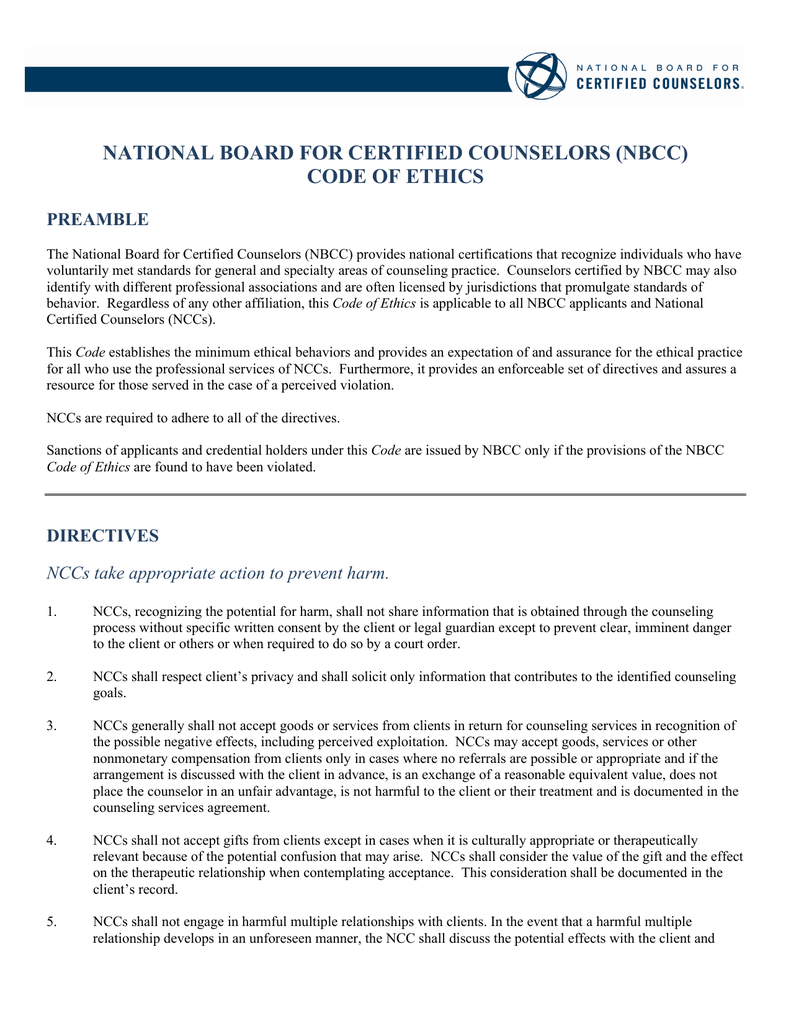 NATIONAL BOARD FOR CERTIFIED COUNSELORS (NBCC) CODE OF