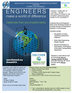 IDAHO SOCIETY OF PROFESSIONAL ENGINEERS SOUTHWEST CHAPTER E-WEEK LUNCH BANQUET TUESDAY, FEBRUARY 23