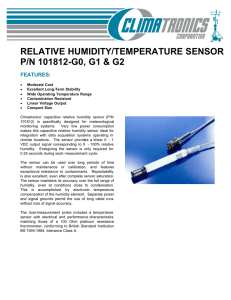 RELATIVE HUMIDITY/TEMPERATURE SENSOR P/N 101812-G0, G1 & G2 FEATURES: