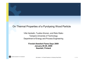 On Thermal Properties of a Pyrolysing Wood Particle