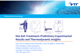 Hot Ash Treatment: Preliminary Experimental Results and Thermodynamic Insights