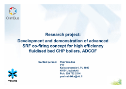 Research project: Development and demonstration of advanced fluidised bed CHP boilers, ADCOF
