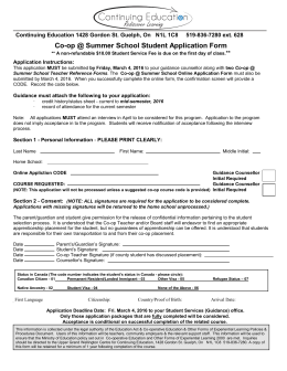 Co-op @ Summer School Student Application Form  **