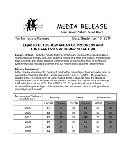 MEDIA  RELEASE  EQAO REULTS SHOW AREAS OF PROGRESS AND