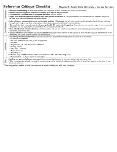 Reference Critique Checklist  Stephen F. Austin State University - Career Services