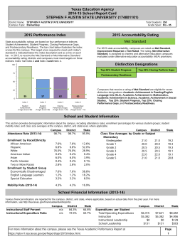 Texas Education Agency 2014-15 School Report Card 2015 Performance Index