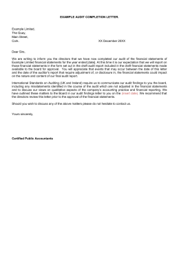 EXAMPLE AUDIT COMPLETION LETTER.  Example Limited, The Quay,