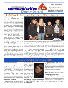 October 2009 Newsletter Hope College Department of Communication | 257 Columbia