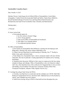 Sustainability Committee Report  Date: October 14, 2013