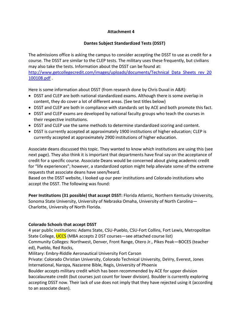 Attachment 4 Dantes Subject Standardized Tests (DSST)