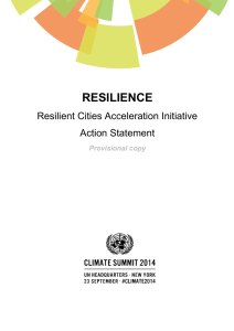 RESILIENCE Resilient Cities Acceleration Initiative Action Statement