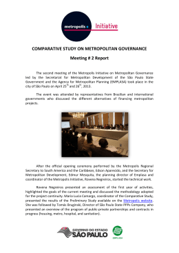 COMPARATIVE STUDY ON METROPOLITAN GOVERNANCE Meeting # 2 Report