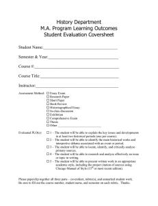 History Department M.A. Program Learning Outcomes Student Evaluation Coversheet