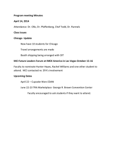 Program meeting Minutes April 14, 2014 Class issues Chicago  Update
