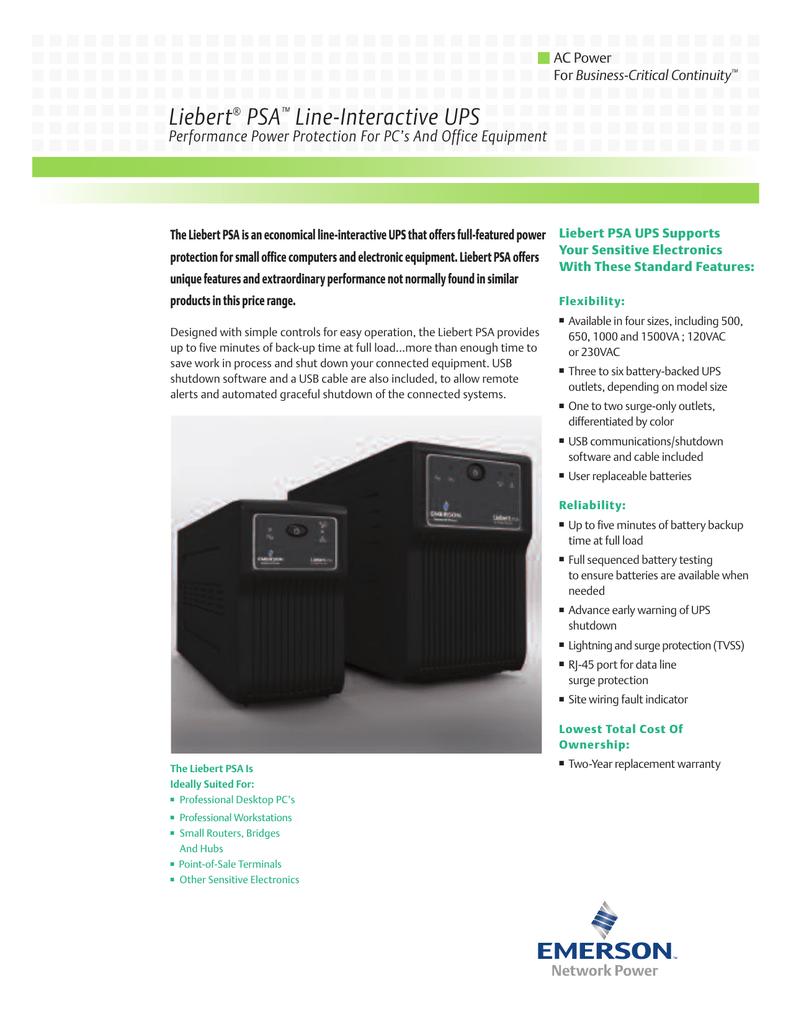 Liebert PSA Line-Interactive UPS Performance Power Protection For