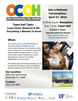 Join a National Conversation: April 27, 2016 Town Hall Topic: