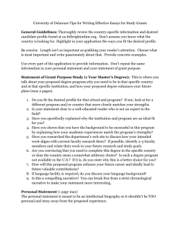 University of Delaware Tips for Writing Effective Essays for Study... candidate profile General Guidelines: