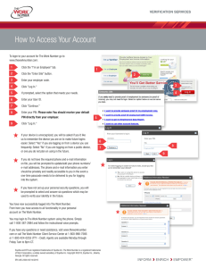 How to Access Your Account 1 VERIFICATION SERVICES