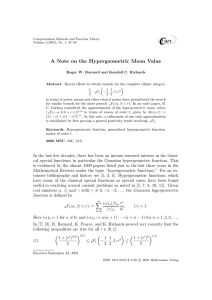 A Note on the Hypergeometric Mean Value