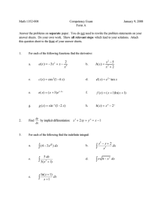Math 1352-008 Competency Exam January 9, 2008 Form A