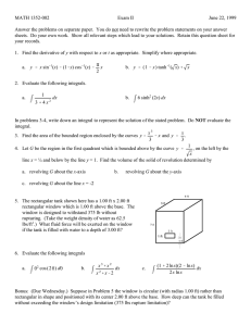 MATH 1352-002 Exam II June 22, 1999