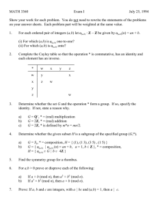 MATH 3360 Exam I July 25, 1994
