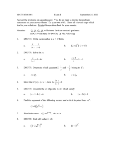 MATH 4356-001 Exam I September 25, 2003