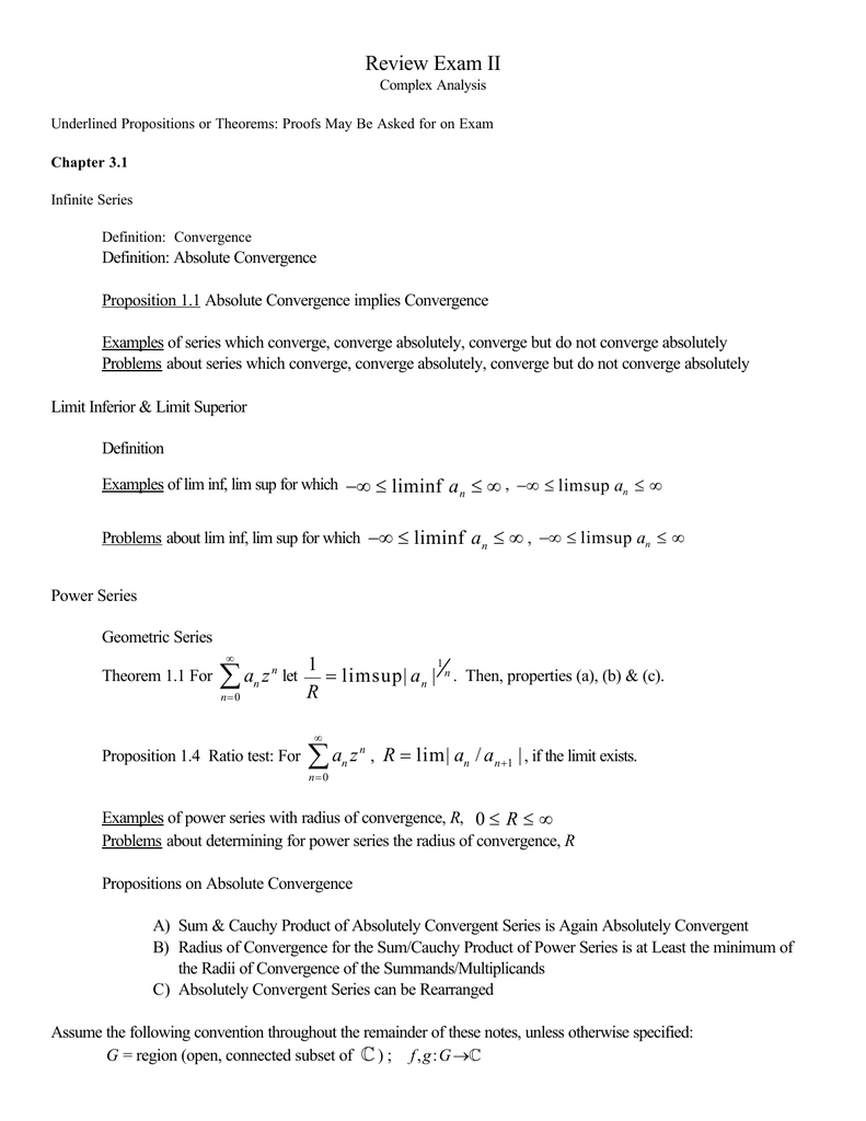 Review Exam II