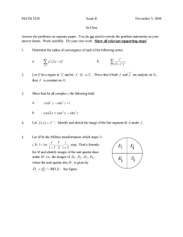 MATH 5320 Exam II November 5, 2004 In-Class