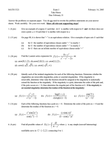 MATH 5321 Exam I February 14, 2005 Take Home