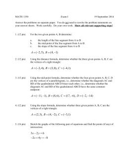 MATH 1350 Exam I 19 September 2014